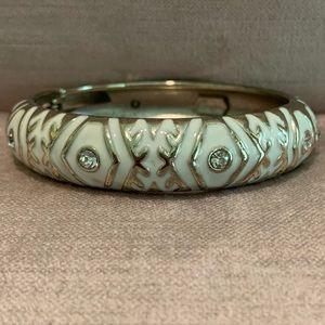 Sequin Enamel Bracelet- White, Wide